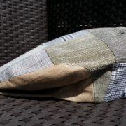 CASQUETTE PLATE BLEU GRISE BEIGE PATCHWORK TOSCANA