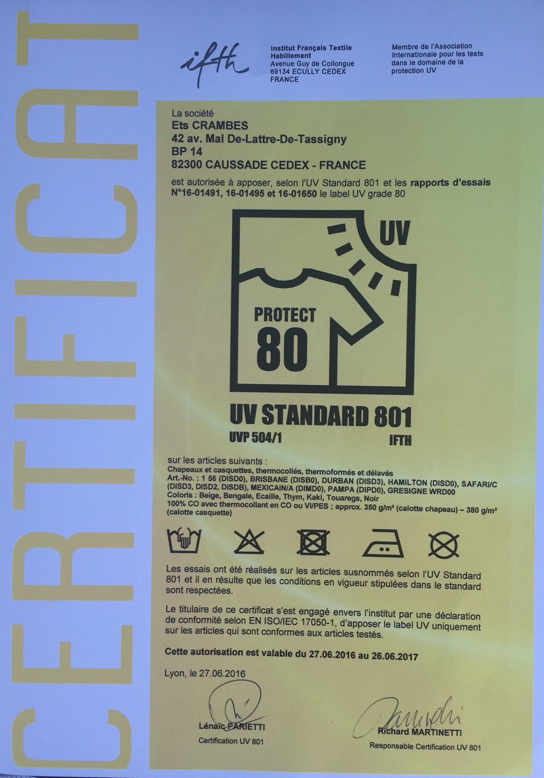 CERTIFICAT UV801